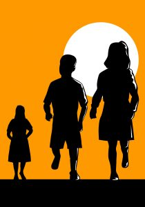Illustration of child boy girl mother silhouette done in retro style.