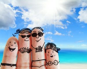 finger family travels at the beach as concept